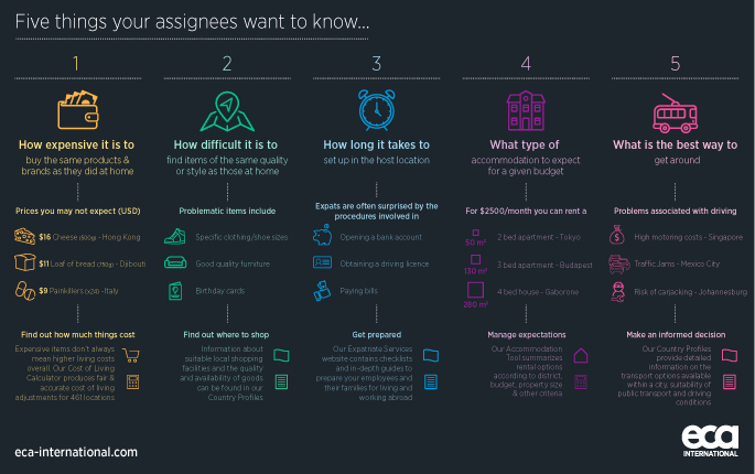 Infographic detailing five of the things assignees wish that they'd known before going on international assignment